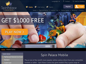 Spin Palace Mobile Casino Home